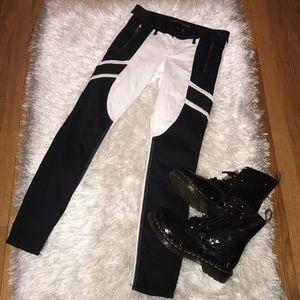 Express Skinny Moro Jeans w/Faux Leather Trim 0